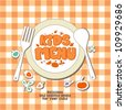 Kids Menu Card Design template. - stock vector