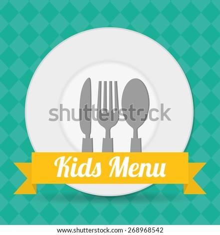Kids menu design over blue background, vector illustration. - stock vector