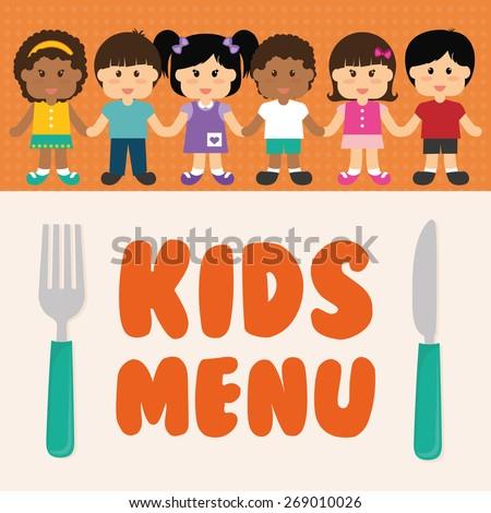 Kids menu design over colorful background, vector illustration. - stock vector