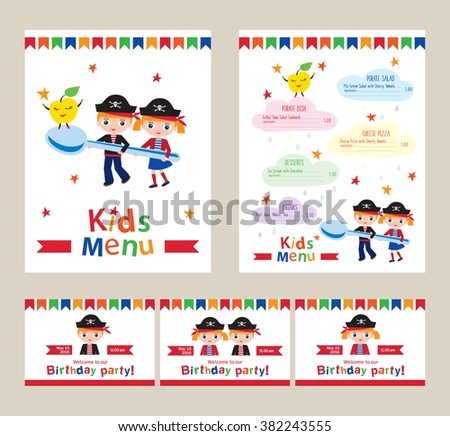 Kids menu pirate birthday party invitation stock vector 382243555 kids menu for a pirate birthday party invitation to a childrens party menu for stopboris