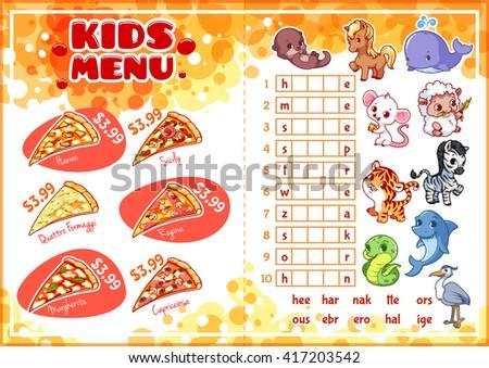 Kids Menu Fastfood Game Pizza Menu Vector 417203542 – Sample Pizza Menu Template