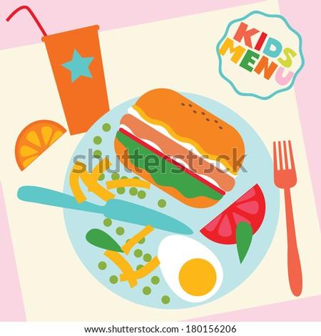 Kids menu template - stock vector