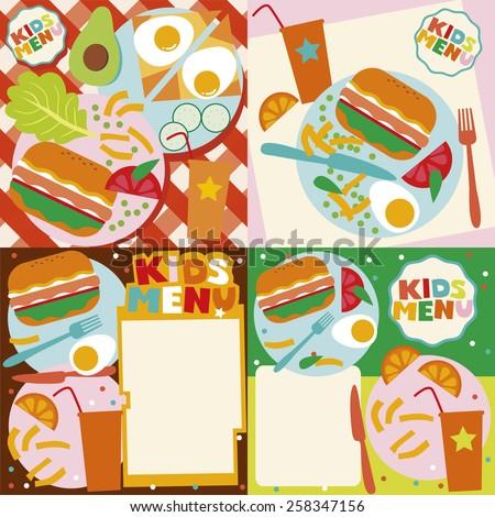 Kids menu templates - stock vector