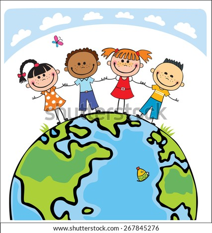 kids of different nationalities holding hands around the globe - stock vector