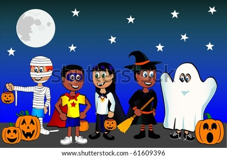 Kids of in costume going trick or treating - stock vector