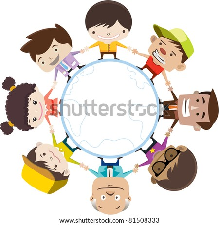 Kids Of The World Illustration - stock vector