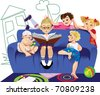 kids on a sofa - stock vector