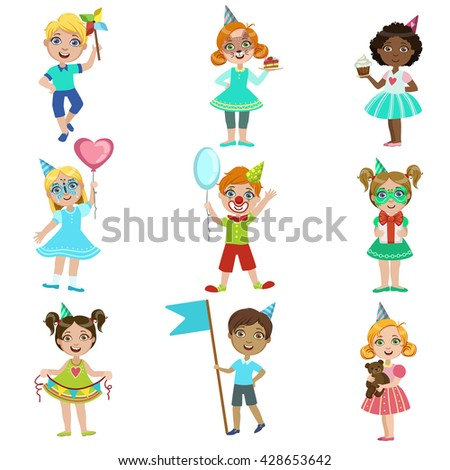kids on birthday party set of bright color isolated vector drawings in simple cartoon design on