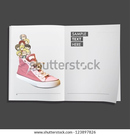 Kids on pink shoe printed on white book, Vector design. - stock vector