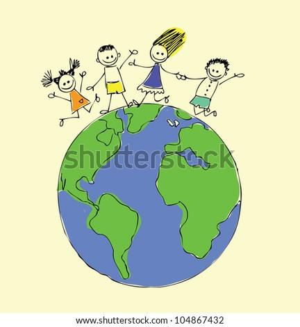Globe Kids Stock Images RoyaltyFree Images Vectors Shutterstock - Globe map for kids