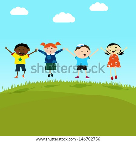 Kids on the hill - stock vector