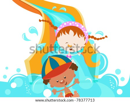Kids on Water Slide - stock vector