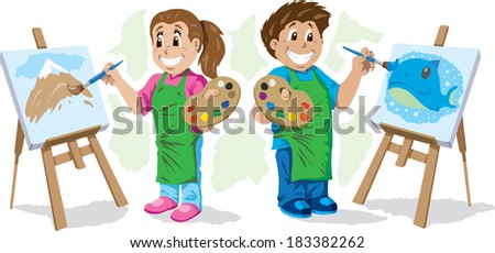 Kids painting - stock vector