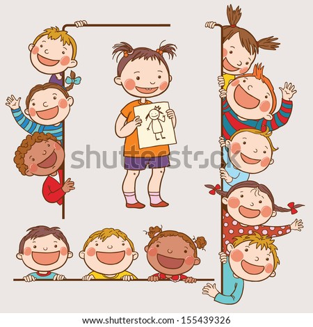 Kids peeping behind placard. Girl with drawing.Back to School isolated objects on white background. Great illustration for a school books and more. VECTOR. Editorial. Education. Advertising. Board. - stock vector