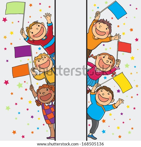 Kids peeping behind placard with flags. Back to School isolated objects on Gradient Stars Background. Great illustration for a school books and more. VECTOR. Editorial. Education. Advertising. Board. - stock vector