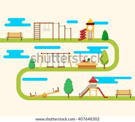 Kids playground. Buildings for city construction. Set of elements to create urban background, village and town landscape. - stock vector