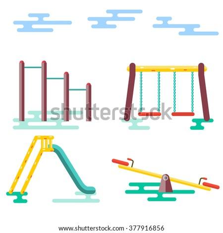 Kids Playground on White Background. Vector Illustration - stock vector