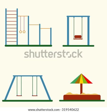 Kids playground set, flat design, vector - stock vector