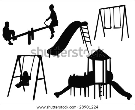 kids playground silhouette - stock vector