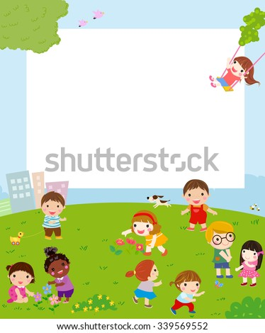 Kids playing and frame - stock vector
