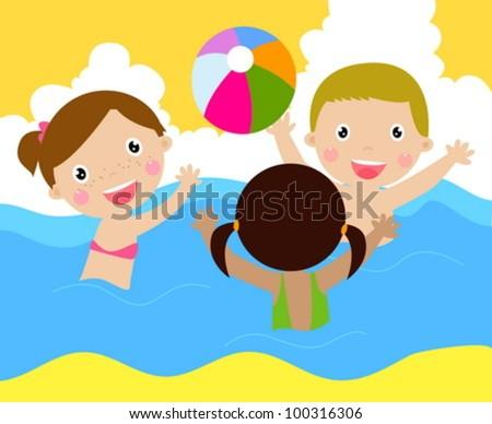 Kids playing ball - stock vector
