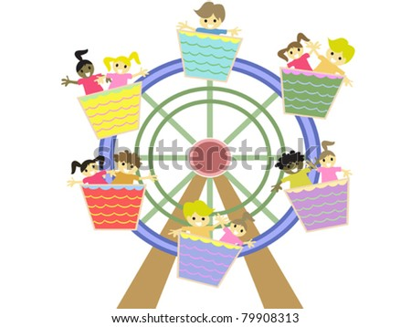 kids playing in the amusement park - stock vector