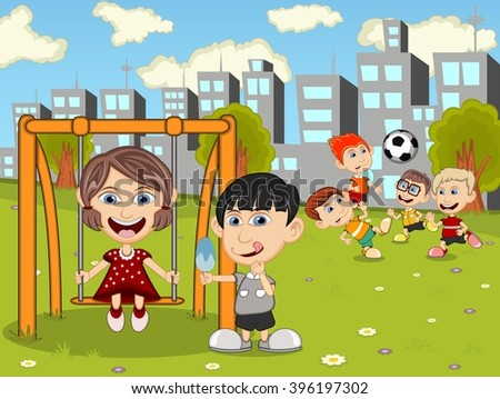 Kids playing in the park cartoon vector illustration - stock vector