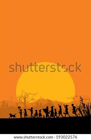 Kids playing on Halloween night - stock vector