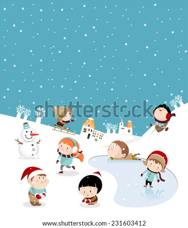Kids playing outdoors in winter B - stock vector