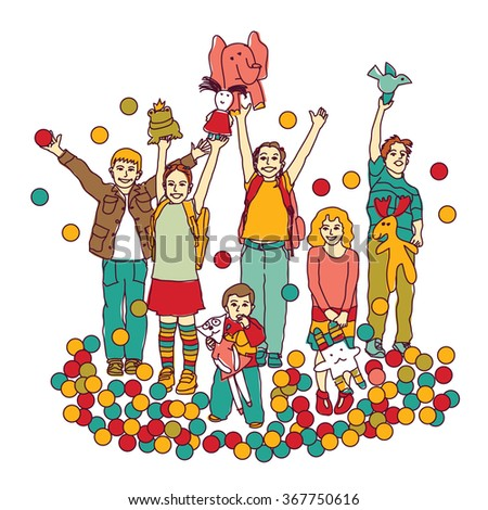 Kids playing room toys isolate on white. Color vector illustration. EPS8