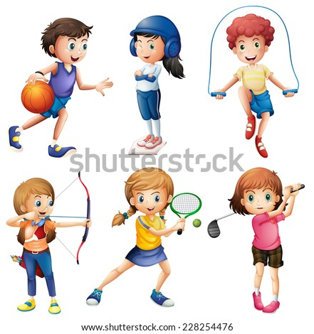 Kids playing sport on white - stock vector