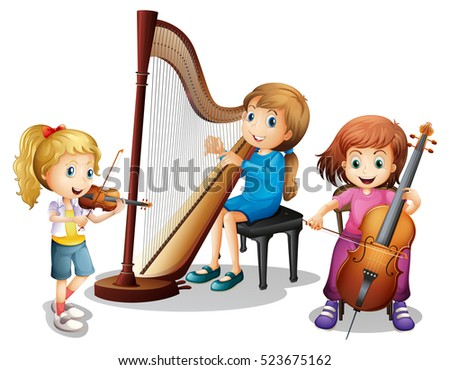 Kids playing string instruments