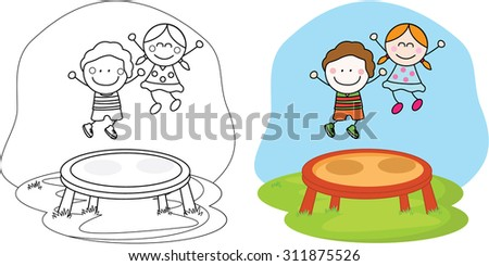 kids playing trampoline - stock vector