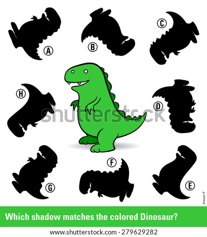 Kids puzzle with a green cartoon dinosaur and eight different shadow silhouettes only one of which is a match in shape for entertainment and stimulation of young children, vector illustration - stock vector