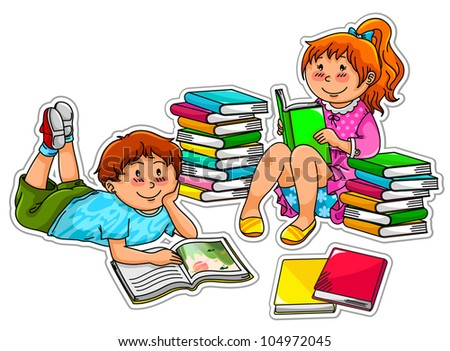 kids reading books (each kid is grouped separately and can be used alone. JPEG version available in my gallery)