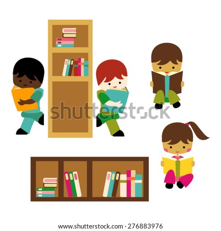 Kids reading. Library vector.