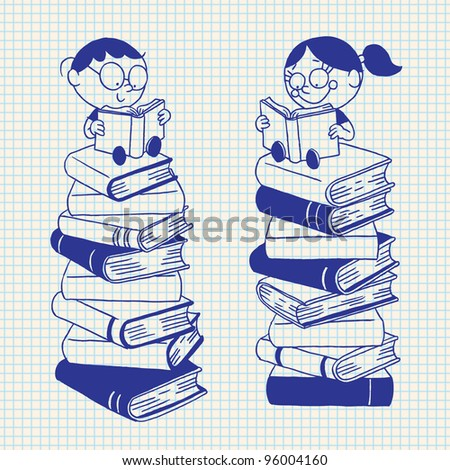 Kids reading on a big pile of books - stock vector