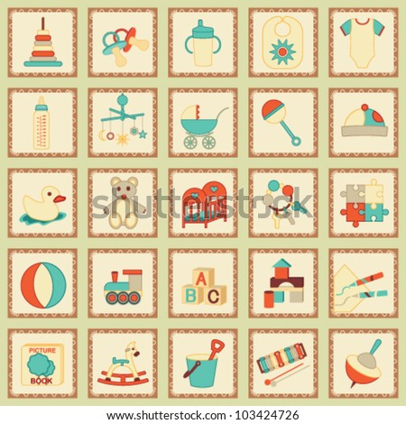 Kids related icons 3 - stock vector