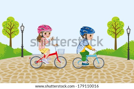 Kids riding bicycle in the park,wearing Helmet - stock vector