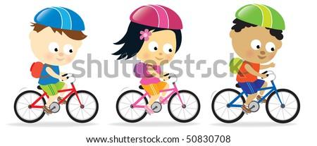 Kids riding bikes - stock vector