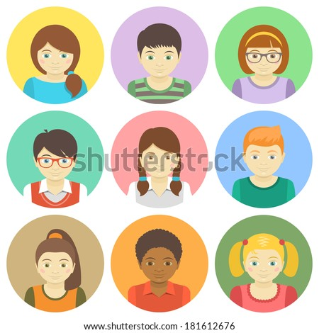 Kids round flat vector avatars. Different boys and girls faces in colorful circles. Children characters profile pictures. Different hairstyles and clothes cartoon design. Portrait infographic elements - stock vector