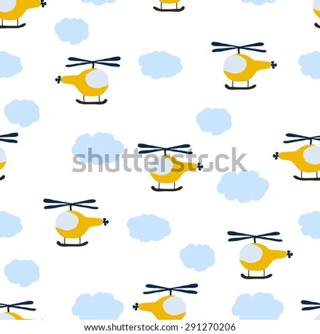 kids seamless pattern: Aircraft and clouds - stock vector