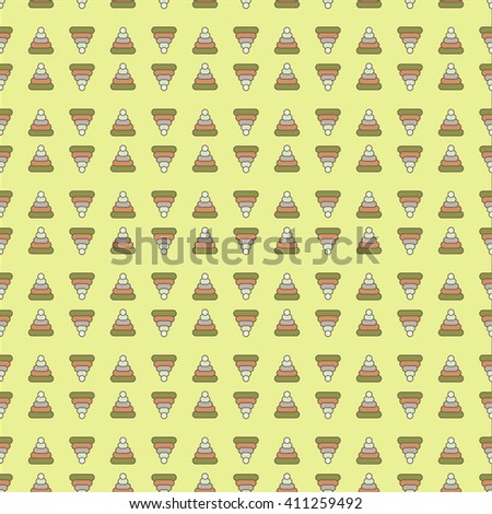 Kids seamless pattern. Small multi-colored pyramid on a yellow background. Cute Children's colorful pyramid seamless pattern - stock vector