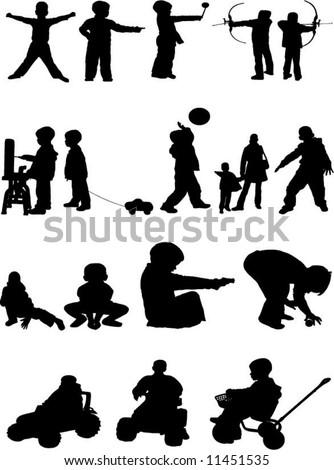 kids silhouette - stock vector