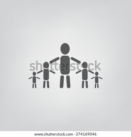 kids silhouette family Icon, kids silhouette family Icon Vector, kids silhouette family Icon JPG, kids silhouette family Icon JPEG, kids silhouette family Icon EPS, kids silhouette family Icon design - stock vector