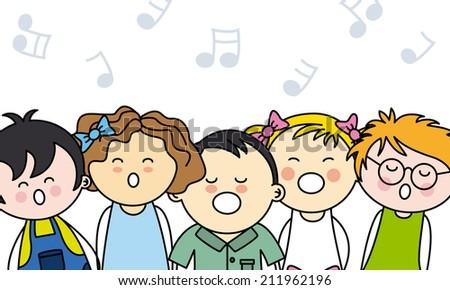 kids singing  - stock vector