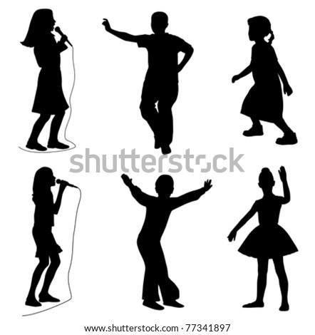 Kids singing dancing (vector) - stock vector