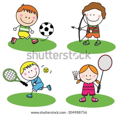 Kids sport - stock vector