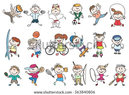 Kids sport activity. Basketball and tennis, soccer and baseball, jump athletic lifestyle. Doodle children sport activity vector illustration