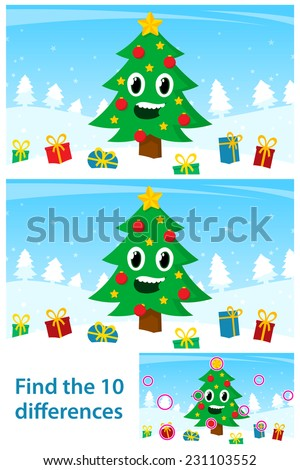 Kids spot the 10 differences vector puzzle with a happy Christmas tree surrounded by colorful gifts in a snowy winter landscape with two variations and the solution - stock vector